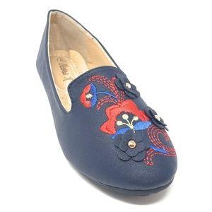 Women Embroidered Ballet Flats, B-2714A, Blue